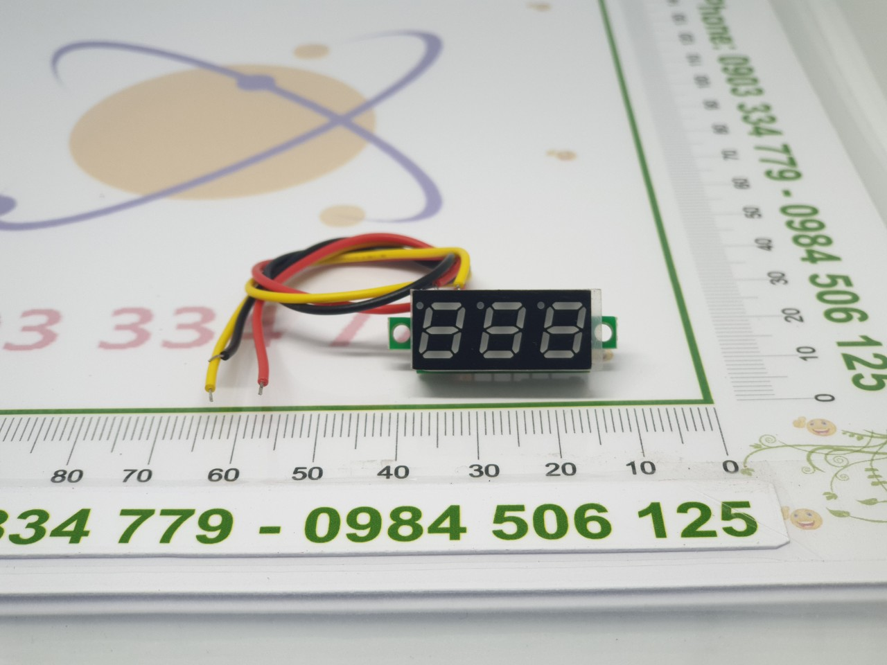 Mạch đo Vôn 0-100V DC mini 3 dây - vàng