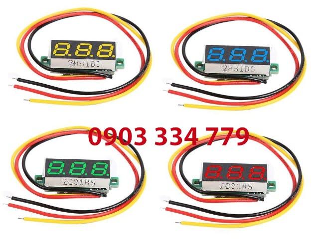 Mạch đo Vôn 0-100V DC mini 3 dây - xanh lá
