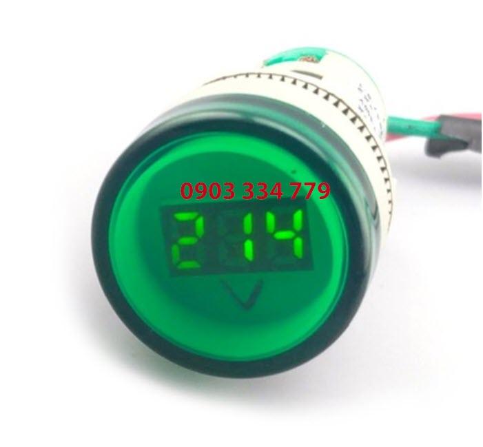Đồng hồ đo vôn AC 70VAC - 500V Xanh lá - tròn