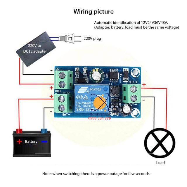 Mạch chuyển nguồn tự động giữa adapter 220V và accquy