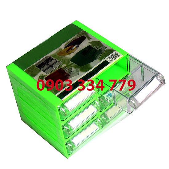 Tủ đựng linh kiện 6 ngăn - xanh lá