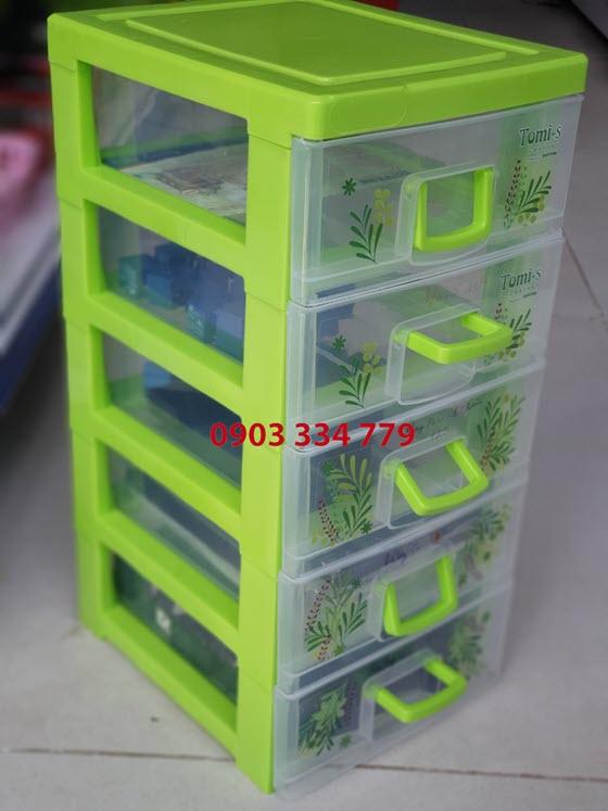 Tủ đựng linh kiện 5 ngăn - xanh lá